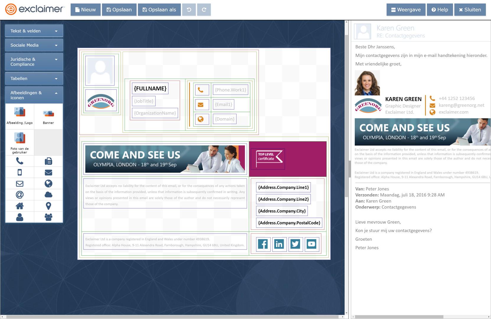 Haal meer uit uw e-mailhandtekeningen voor G Suite met dynamische elementen zoals reclamebanners, koppelingen naar sociale media en prijslogo's.