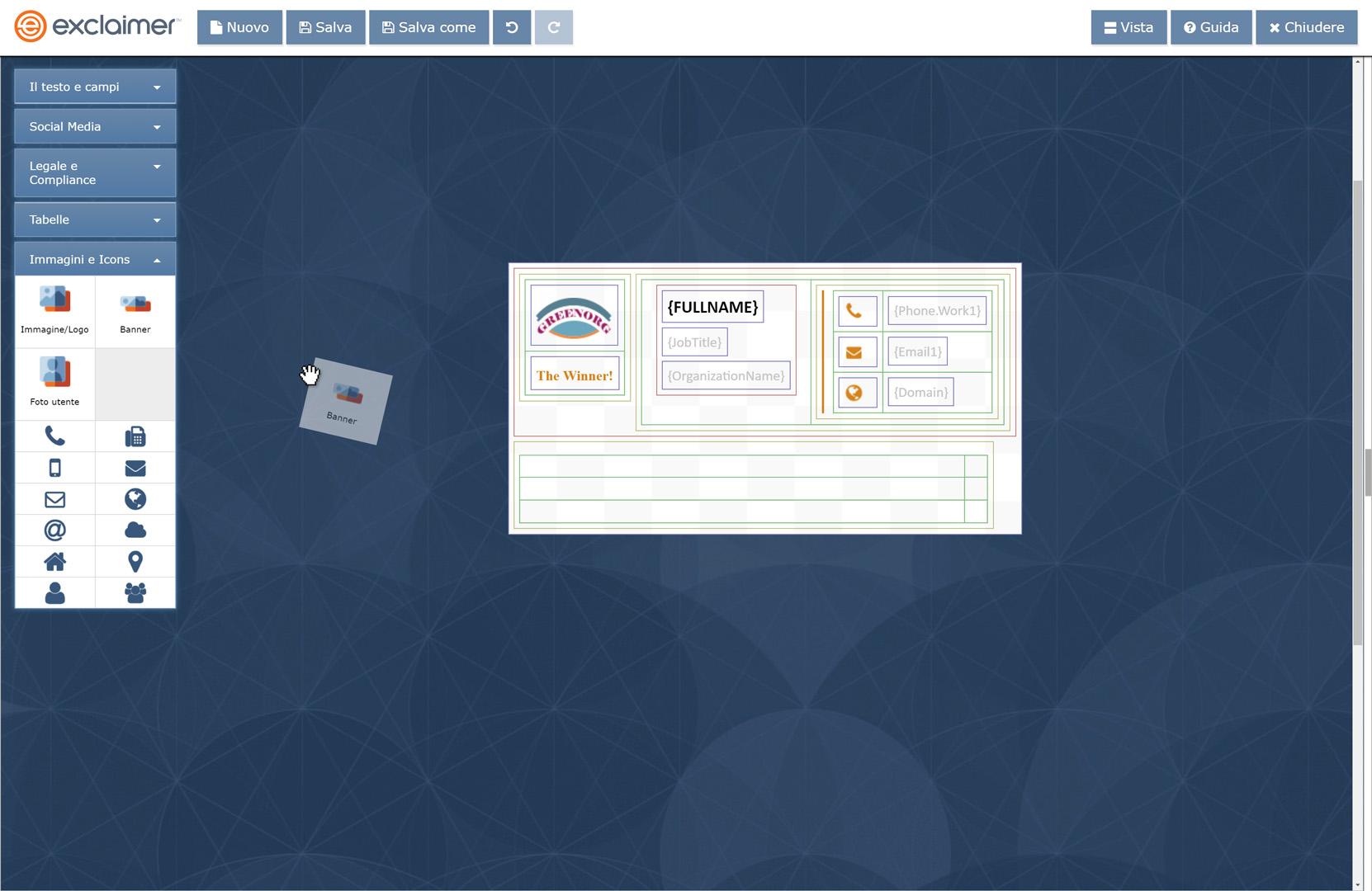 Trascina i vari elementi della firma nel tuo progetto di firma e-mail G Suite.