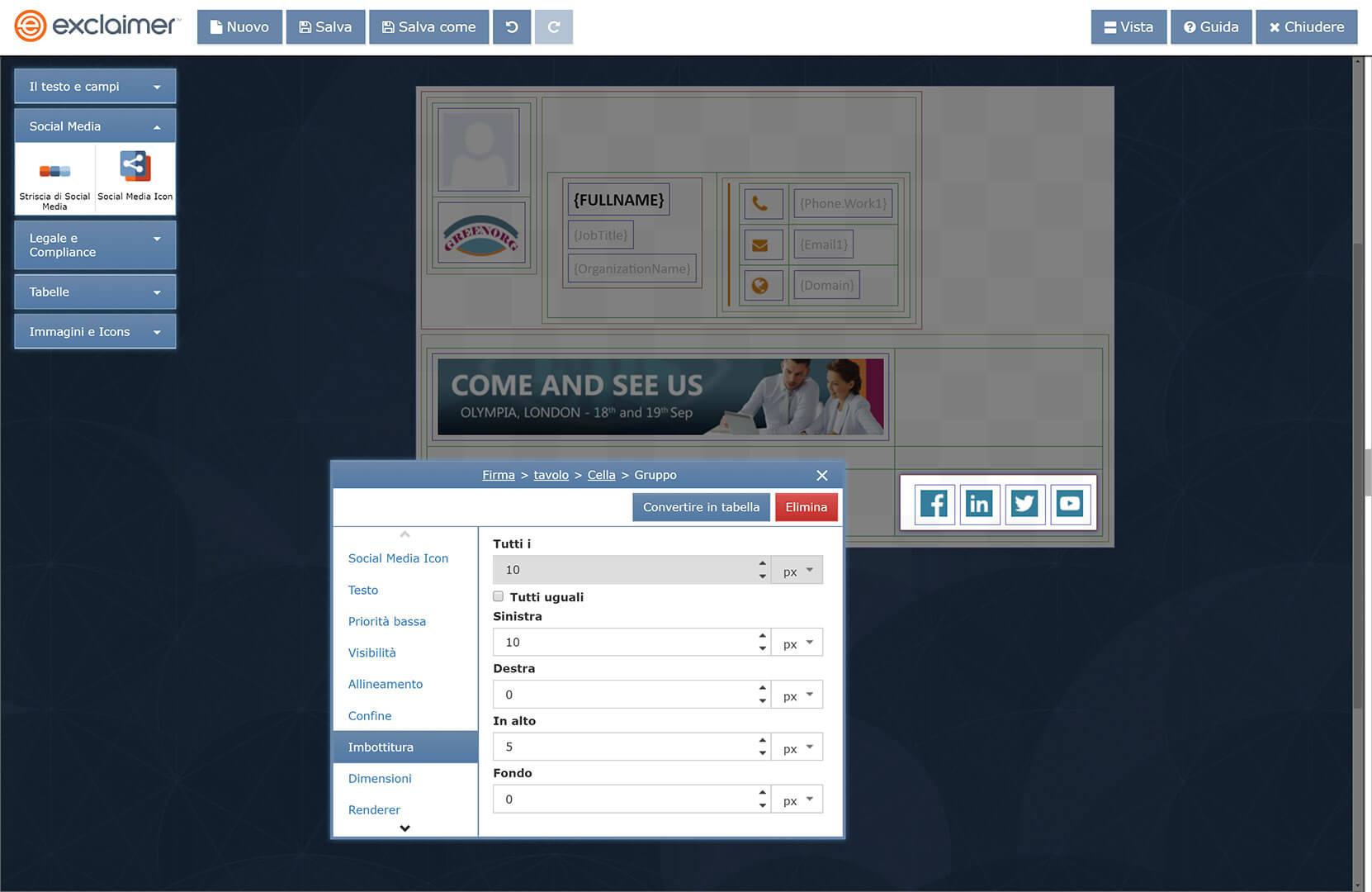 Nessuna competenza in HTML per creare firme Gmail aziendali.