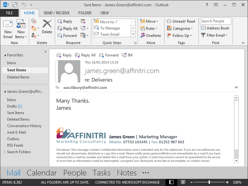 As the email signature is added at the Exchange server level, your users won't be able to see it when they compose an email message. They still have the option to view their email signature by reviewing their Sent Items folder.