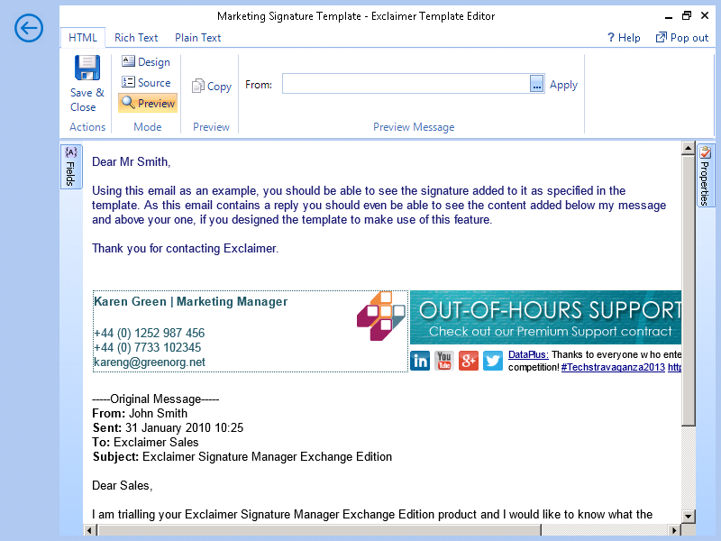 Test email signature template policies