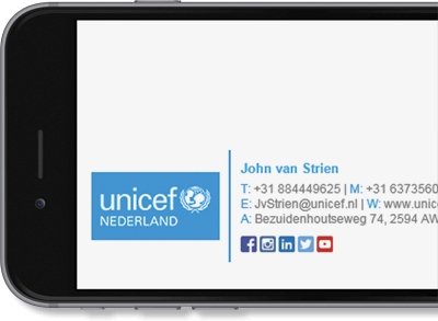 Exclaimer Cloud Signatures for Office 365 managed UNICEF Nederland's Office 365 signatures.