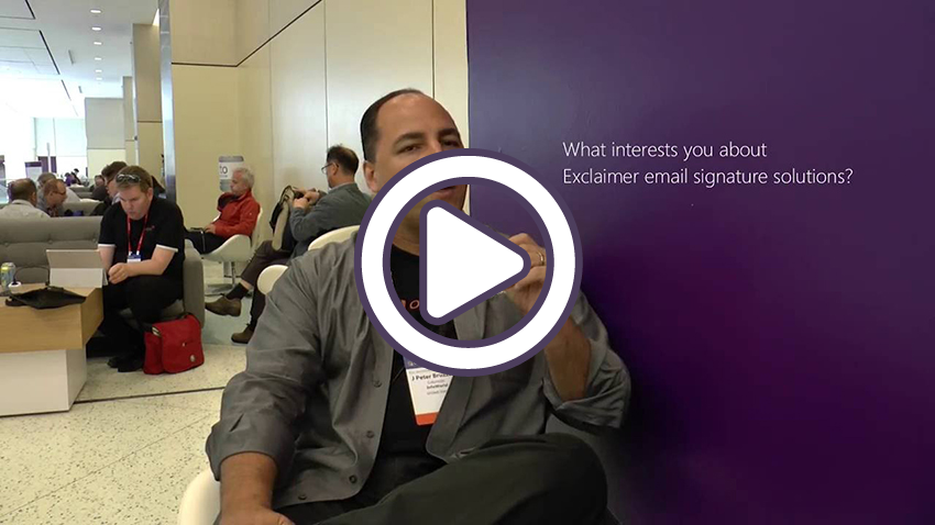 J.Peter Bruzzese, Microsoft Office Servers and Services MVP (formerly Exchange/Office 365 MVP), gives his opinion on email signature management solutions, particularly Exclaimer Cloud - Signatures for Office 365, at WPC 2016 in Toronto, Canada.
