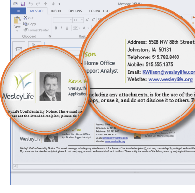 WesleyLife using Signature Manager Exchange Edition and Outlook Photos